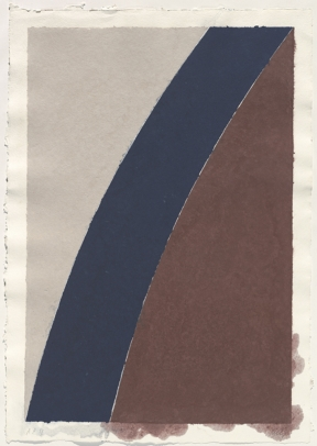 Ellsworth Kelly - Colored Paper Image XII (Blue Curve with Brown and Gray),